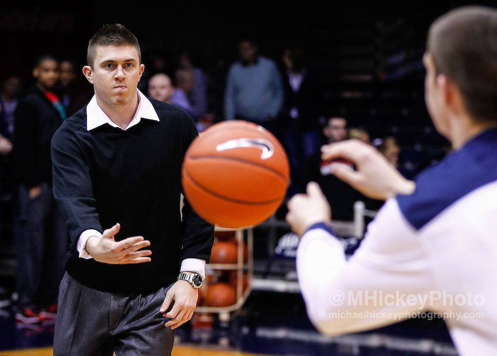 INDIANAPOLIS, IN - JANUARY 19: Rotnei Clarke #15 of the Butler Bulldogs passes the ball to Alex Barlow #3 of the Butler Bulldogs during warmups before the game against the Gonzaga Bulldogs at Hinkle Fieldhouse on January 19, 2013 in Indianapolis, Indiana. Butler defeated Gonzaga 64-63. (Photo by Michael Hickey/Getty Images) *** Local Caption *** Rotnei Clarke; Alex Barlow