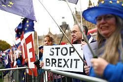 © Licensed to London News Pictures. 10/12/2018. London, UK. Brexit protesters in Westminster as Theresa May prepares to make a statement in Parliament. Photo credit: Rob Pinney/LNP