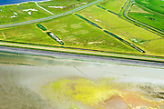 Nederland, Friesland, Gemeente Dongeradeel, 05-08-2014; zeekleipolders achter de Waddenzee zeedijk, ten noorden van Anjum. Lauwersmeer nog net boven in beeld. <br /> Land reclamation of the nearby Wadden Sea. Seawall and polders.<br /> luchtfoto (toeslag); aerial photo (additional fee required); foto Siebe Swart / photo Siebe Swart