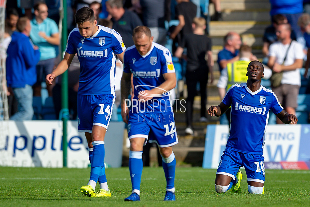 Gillingham FC forward Mikael Ndjoli  (10) scores a goal (1-0)  and celebrates with team mates during the EFL Sky Bet League 1 match between Gillingham and Wycombe Wanderers at the MEMS Priestfield Stadium, Gillingham, England on 14 September 2019.