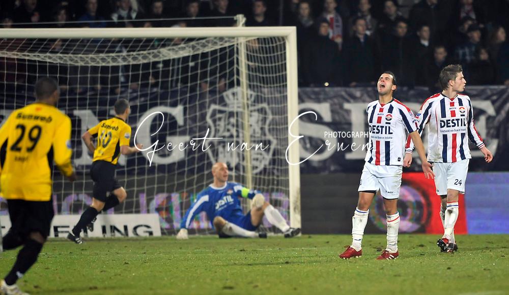 05-02-2010: Voetbal: Willem II - NAC Breda: Tilburg<br /> Said Boutahar is ziedend na de 1-2 van NAC Breda. Doelman Maikel Aerts ligt er verslagen bij<br /> Foto: Geert van Erven