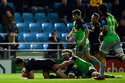 Harry Strong of Exeter Braves scores his sides fourth try of the game - Mandatory by-line: Ryan Hiscott/JMP - 01/04/2019 - RUGBY - Sandy Park Stadium - Exeter, England - Exeter Braves v Harlequins - Premiership Rugby Shield