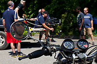 Nathan Woodruff rides his BMW so students can hone their Steadicam skills.<br /> <br /> Steadicam Workshop, Paul Taylor.