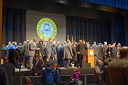 Hempstead, New York, USA. January 1, 2018. Swearing-In of LAURA GILLEN as Hempstead Town Supervisor, and SYLVIA CABANA as Hempstead Town Clerk are held at Hofstra University. It was first time a Democrat became Town of Hempstead Supervisor in over a century.