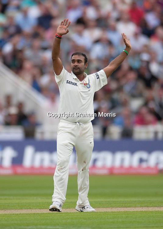 Ravi Bopara out lbw Amit Mishra (celebrates) for 7 runs during the third npower Test Match between England and India at Edgbaston, Birmingham.  Photo: Graham Morris (Tel: +44(0)20 8969 4192 Email: sales@cricketpix.com) 12/08/11