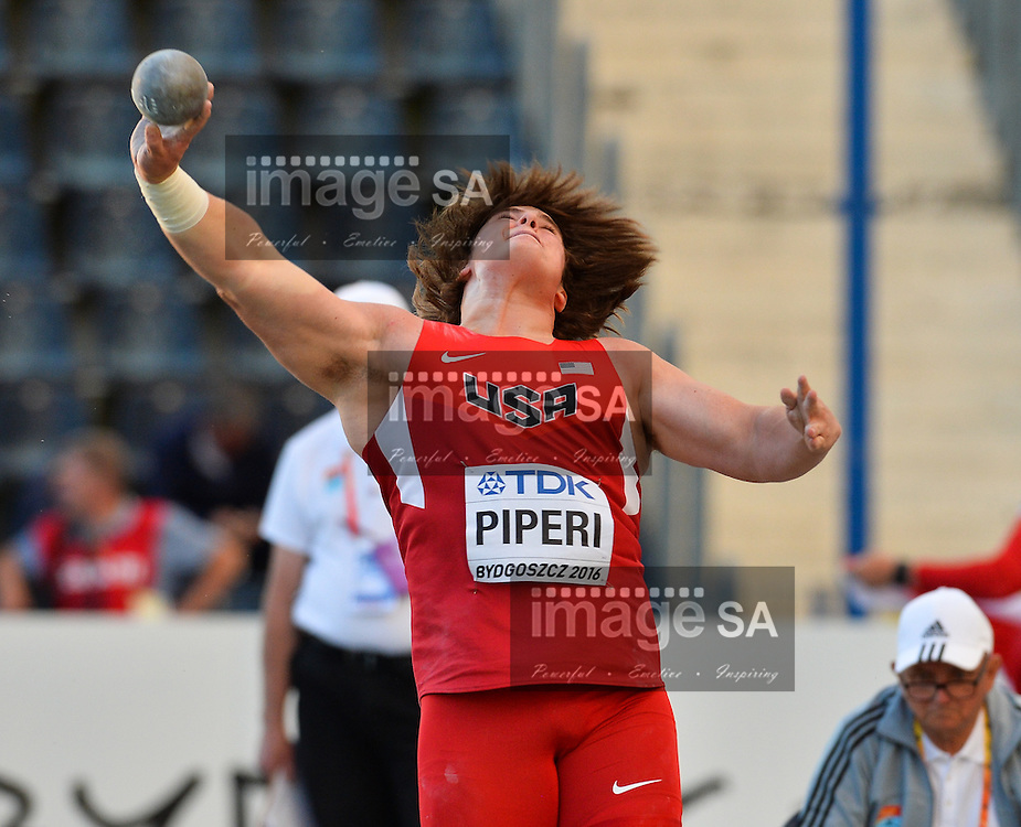 BYDGOSZCZ, POLAND - JULY 19: Adrian Piperi III of the USA in the final of the mens shot put during the afternoon session on day 1 of the IAAF World Junior Championships at Zawisza Stadium on July 19, 2016 in Bydgoszcz, Poland. (Photo by Roger Sedres/Gallo Images)
