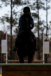 March 22, 2019 - Raeford, North Carolina, US - March 23, 2019 - Raeford, N.C., USA - A rider traverses the Tobacco Barn complex in the cross country CCI-3S division at the sixth annual Cloud 11-Gavilan North LLC Carolina International CCI and Horse Trial, at Carolina Horse Park. The Carolina International CCI and Horse Trial is one of North AmericaÃ•s premier eventing competitions for national and international eventing combinations, hosting International competition at the CCI2*-S through CCI4*-S levels and National levels of Training through Advanced. (Credit Image: © Timothy L. Hale/ZUMA Wire)