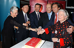 Left to right, JACQUELINE WILSON OBE, COLIN LOWE, DAVID BLUNKETT MP,  JULIAN FELLOWES, LORD BRAGG and BARONESS JAMES OF HOLLAND PARK at a party to celebrate the anniversary of the launch of Talking Books held at The Arts Club, 40 Dover Street, London W1 on 8th November 2005.<br />