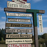 Organic Redneck Farm Stand has fresh produce in a pastoral setting along the McKenzie River Highway near Leaburg, Oregon.
