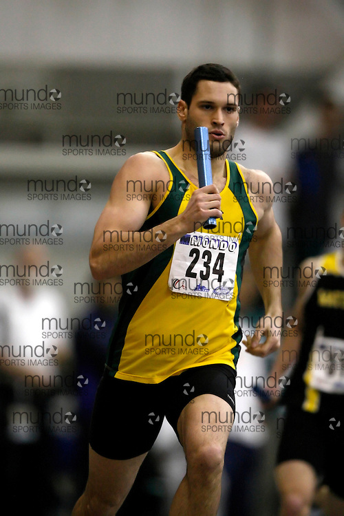 Windsor, Ontario ---14/03/09--- Eric Clark of  the University of Regina competes in the 4x400m relay at the CIS track and field championships in Windsor, Ontario, March 14, 2009..Claus Andersen Mundo Sport Images