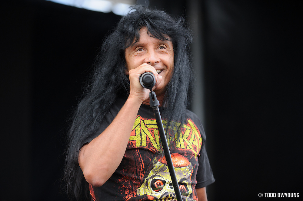 Anthrax performing at Mayhem Fest 2012 at Verizon Wireless Amphitheater in St. Louis, Missouri on July 20, 2012.