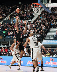 © Licensed to London News Pictures. 28/04/2013. London, UK. The Leicester Riders (black strip) play the Newcastle Eagles (white strip) in the playoff final of the British Basketball League 2013. The Newcastle Eagles are defending their title having won it in 2012.  The British Basketball League (BBL), is the premier men's professional basketball league in the United Kingdom. The BBL runs two knockout competitions alongside the league Championship; the BBL Cup and the BBL Trophy, as well as the post-season Play-offs.  Photo credit : Richard Isaac/LNP