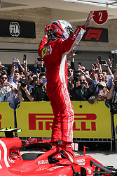 October 21, 2018 - Austin, TX, U.S. - AUSTIN, TX - OCTOBER 21: Ferrari driver Kimi Raikkonen (7) of Finland celebrates victory after the F1 United States Grand Prix on October 21, 2018, at Circuit of the Americas in Austin, TX. (Photo by John Crouch/Icon Sportswire) (Credit Image: © John Crouch/Icon SMI via ZUMA Press)