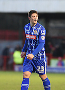 Notts County goalscorer Filip Valenčič immediately after scoring the first goal of the game during the Sky Bet League 2 match between Crawley Town and Notts County at the Checkatrade.com Stadium, Crawley, England on 16 January 2016. Photo by David Charbit.