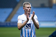 Coventry City midfielder Andy Rose (6)  applauds the fans  during the The FA Cup match between Coventry City and Morecambe at the Ricoh Arena, Coventry, England on 15 November 2016. Photo by Simon Davies.