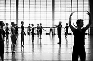 Choreographer Peter Martins and NYC ballet in Copenhagen. The dancers rehearsal is for George Balanchine's The Four Temperaments.