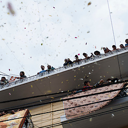 People watch a procession in Ayacucho, Peru, during the Holy Week celebrations.