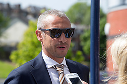 Henrik Larsson arrives for the William Hill Scottish Cup Final at Hampden Park, Glasgow. PRESS ASSOCIATION Photo. Picture date: Saturday May 19, 2018. See PA story SOCCER Scottish Final. Photo credit should read: Jeff Holmes/PA Wire. RESTRICTIONS: EDITORIAL USE ONLY