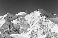 Aerial view of the North and South Peaks and the Traleika Col of Denali (Mt. McKinley) in Denali National Park in Southcentral Alaska. Autumn. Morning.