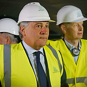 Saint-Martin-La-Porte (Francia) 8 agosto 2018:  Il presidente del Parlamento europeo, Antonio Tajani, in visita al cantiere della sezione transfrontaliera della linea Tav Torino-Lione la fresa Federica ha superato il 50% dello scavo dei primi 9 km del tunnel di base del Moncenisio
