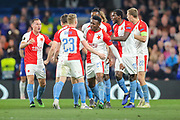 GOAL 4-3. Slavia Prague midfielder Petr Sevcik (23) celebrates with teammates after scoring a goal during the Europa League  quarter-final, leg 2 of 2 match between Chelsea and Slavia Prague at Stamford Bridge, London, England on 18 April 2019.
