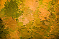 Water reflections on the Galovac water surface, Upper Lakes, Plitvice National Park,  Croatia