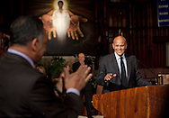 Harry Belafonte gives speech at St. Sabina Church in Chicago.