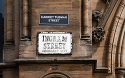Glasgow, Scotland, UK. 6 June 2020.  Street names in Glasgow City centre with historic links to the slave trade have been targeted and renamed by new ones bearing the names of black activists or alleged victims of racism.  Iain Masterton/Alamy Live News