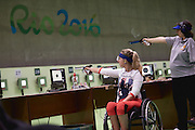 Issy Bailey of Great Britain in the P2 - Women's 10m Air Pistol SH1 at the Olympic Shooting Centre on day 1 of the 2016 Rio Paralympic Games. Thursday 8th September 2016.