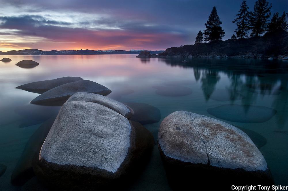 """Secret Harbor Sunset 1"" - The sun sets at Secret Beach on the Eastern Shore of Lake Tahoe"