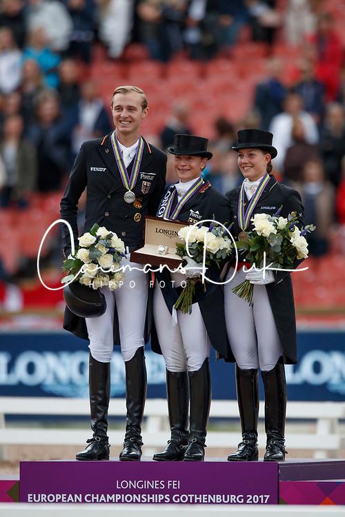 Werth Isabell, GER, Rothenberger Soneke, GER, Ducour Catherine, DEN<br /> FEI European Driessage Championships - Goteborg 2017 <br /> &copy; Hippo Foto - Dirk Caremans<br /> 26/08/2017,