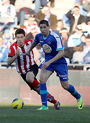 08.01.2012, Stadion Coliseum Alfonso Perez, Getafe, ESP, Primera Division, FC Getafe vs Athletic Bilbao, 18. Spieltag, im Bild Getafe's Abdel Barrada against Athletic de Bilbao's Ander Herrera // during the football match of spanish 'primera divison' league, 18th round, between FC Getafe and Athletic Bilbao at Coliseum Alfonso Perez stadium, Getafe, Spain on 2012/01/08. EXPA Pictures © 2012, PhotoCredit: EXPA/ Alterphotos/ Alvaro Hernandez..***** ATTENTION - OUT OF ESP and SUI *****