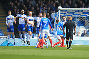 Portsmouth free kick  during the EFL Sky Bet League 1 match between Portsmouth and Rochdale at Fratton Park, Portsmouth, England on 13 April 2019.
