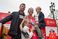 Paula Radcliffe with her family after completing her final marathon at the Virgin Money London Marathon, Sunday 26th April 2015.<br /> <br /> Scott Heavey for Virgin Money London Marathon<br /> <br /> For more information please contact Penny Dain at pennyd@london-marathon.co.uk