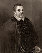 Thomas Bodley (1545-1613) English scholar and diplomat, founder of the Bodleian Library, Oxford.  Engraving.