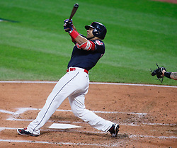 October 11, 2017 - Cleveland, OH, USA - The Cleveland Indians' Edwin Encarnacion strikes out against the New York Yankees' CC Sabathia in the second inning during Game 5 of the American League Division Series, Wenesday, Oct. 11, 2017, at Progressive Field in Cleveland. (Credit Image: © Leah Klafczynski/TNS via ZUMA Wire)