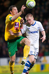 NORWICH, WALES - Saturday, November 14, 2009: Tranmere Rovers' Ryan Fraughan and Norwich City's Grant Holt during the League One match at Carrow Road. (Pic by David Rawcliffe/Propaganda)