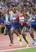 Mo Ahmed aka Mohamed Ahmed (CAN) and Mo Farah aka Mohamed Farah (GBR) run in the 5,000m during the Weltklasse Zurich in an IAAF Diamond League meeting at Letzigrund Stadium in Zurich, Switzerland on Thursday, August 24, 2017.   (Jiro Mochizuki/Image of Sport)