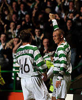 Photo: Jed Wee.<br /> Glasgow Celtic v FC Copenhagen. UEFA Champions League, Group F. 26/09/2006.<br /> <br /> Celtic's Kenny Miller (R) celebrates after scoring from the penalty spot.