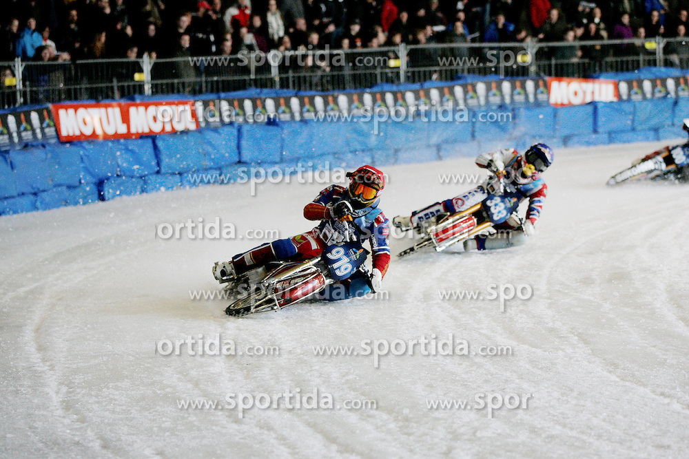 13.03.2016, Assen, BEL, FIM Eisspeedway Gladiators, Assen, im Bild Dmitry Khomitsevich (RUS), Daniil Ivanov (RUS) // during the Astana Expo FIM Ice Speedway Gladiators World Championship in Assen, Belgium on 2016/03/13. EXPA Pictures &copy; 2016, PhotoCredit: EXPA/ Eibner-Pressefoto/ Stiefel<br /> <br /> *****ATTENTION - OUT of GER*****
