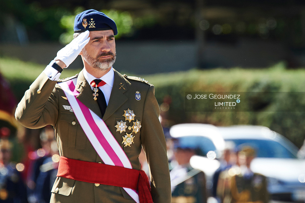 King Felipe VI of Spain and Queen Letizia of Spain attend the Royal Guards Flag Ceremony at the 'El Rey' Military Barracks on May 22, 2015 in El Pardo, near of Madrid, Spain.<br /> Today it's the 11th Spanish Royals wedding anniversary