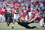 FAYETTEVILLE, AR - NOVEMBER 24:  Devwah Whaley #21 of the Arkansas Razorbacks runs the ball a game against the Missouri Tigers at Razorback Stadium on November 24, 2017 in Fayetteville, Arkansas.  The Tigers defeated the Razorbacks 48-45.  (Photo by Wesley Hitt/Getty Images) *** Local Caption *** Devwah Whaley