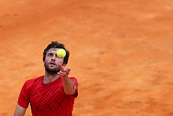 April 30, 2018 - Estoril, Portugal - Gilles Simon of France serves a ball to Pedro Sousa of Portugal during the Millennium Estoril Open ATP 250 tennis tournament - round 1, at the Clube de Tenis do Estoril in Estoril, Portugal on April 30, 2018. (Credit Image: © Pedro Fiuza/NurPhoto via ZUMA Press)