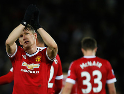 Bastian Schweinsteiger of Manchester United applauds the fans at the final whistle  - Mandatory byline: Jack Phillips/JMP - 07966386802 - 28/11/2015 - SPORT - FOOTBALL - Leicester - King Power Stadium - Leicester City v Manchester United - Barclays Premier League