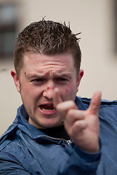 © Licensed to London News Pictures . 23/01/14 Former English Defence League leader Stephen Lennon, who uses the alias Tommy Robinson, has been jailed for 18 months today 23 January 2014 for mortgage fraud.  FILE PICTURE DATED 05/05/2012. Luton, UK. Stephen Lennon (aka Tommy Robinson), the leader of the EDL. The EDL hold a march and demonstration in Luton town centre. About 1500 EDL supporters attended and about 1200 police. A counter protest was also held. Photo credit : Joel Goodman/LNP