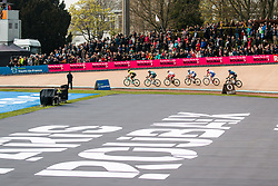 Group on the velodrome during the 2019 Paris-Roubaix (1.UWT) with 257 km racing from Compiègne to Roubaix, France. 14th april 2019. Picture: Pim Nijland | Peloton Photos  <br /> <br /> All photos usage must carry mandatory copyright credit (Peloton Photos | Pim Nijland)