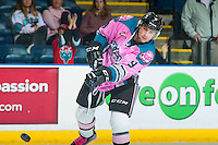 KELOWNA, CANADA - OCTOBER 15: Tanner Wishnowski #9 of Kelowna Rockets takes a shot during warm up against the Swift Current Broncos on October 15, 2016 at Prospera Place in Kelowna, British Columbia, Canada.  (Photo by Marissa Baecker/Shoot the Breeze)  *** Local Caption *** Tanner Wishnowski;