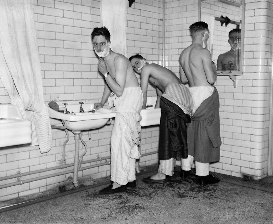 Shaving, Royal Military College, Sandhurst, England, 1932