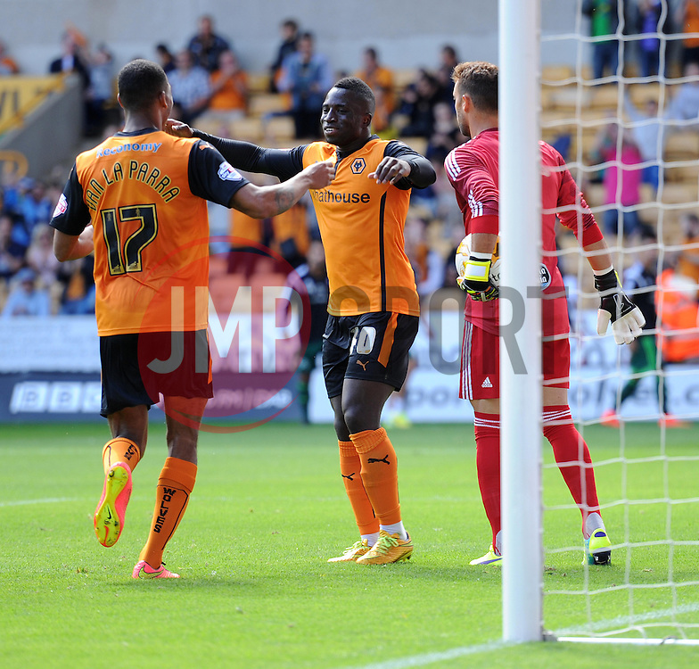Wolverhampton's Nouha Dicko celebrates his goal.  - Photo mandatory by-line: Alex James/JMP - Tel: Mobile: 07966 386802 2/08/2014 - SPORT - FOOTBALL -  Wolverhampton - Molineux Stadium  -   Wolverhampton vs  Celta Vigo - preseason