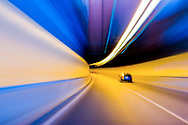 Slow shutter speed whilst driving through a tunnel in Sydney. Australia
